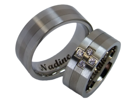 Federico - a pair of rings (stainless steel & titanium)